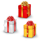 Gift box set. On white for Birthday, Christmas, Valentines Royalty Free Stock Photography