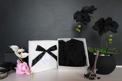 Gift box with a sexy lingerie. Flowers and present for the women. Festive underwear gift with black orchid for a lady Royalty Free Stock Images