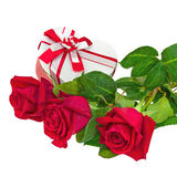 Gift Box in Shape of Heart and Bouquet from Roses. Stock Photography