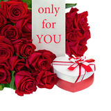 Gift Box in Shape of Heart and Bouquet from Roses. Royalty Free Stock Photos