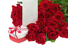 Gift Box in Shape of Heart and Bouquet from Roses. Stock Photos