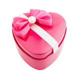Gift box shape heart with a bow Royalty Free Stock Images