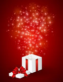 Gift box and shining stars Royalty Free Stock Image