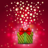 Gift box and shiny star on magic red tone background, vector & illustration Stock Images