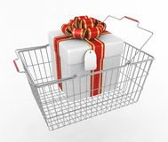 Gift box and shopping basket Stock Image