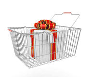 Gift box and shopping basket Royalty Free Stock Photos