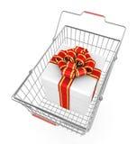 Gift box and shopping basket Stock Image