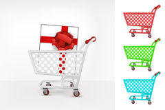 Gift box in shopping cart colorful collection concept vector Stock Photo
