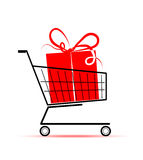 Gift box in shopping cart for your design Stock Image