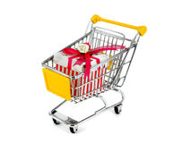 Gift box with shopping carts Royalty Free Stock Photography