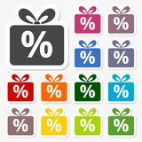 Gift box sign discount icon, Present symbol Stock Images