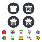 Gift box sign icon. Present symbol. Royalty Free Stock Photos
