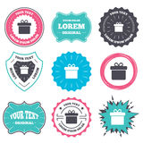 Gift box sign icon. Present symbol. Label and badge templates. Gift box sign icon. Present symbol. Retro style banners, emblems. Vector Royalty Free Stock Photography