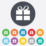Gift box sign icon. Present symbol. Round colourful 11 buttons stock illustration