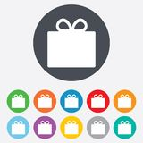 Gift box sign icon. Present symbol. Royalty Free Stock Image