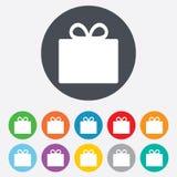 Gift box sign icon. Present symbol. Royalty Free Stock Image