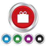Gift box sign icon. Present symbol. Royalty Free Stock Photo