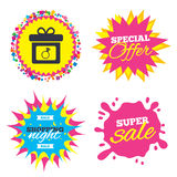 Gift box sign icon. Present symbol. Royalty Free Stock Images