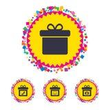 Gift box sign icon. Present symbol. Stock Photos