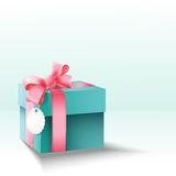 Gift box with silk pink bow Royalty Free Stock Image
