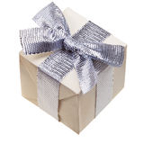 Gift box with silver bow Stock Images