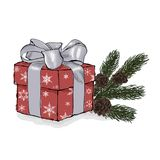 Gift box with a silver bow. Christmas fir tree branches with con. Es. Hand drawn  illustration on a white background Royalty Free Stock Photo