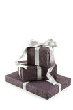 Gift box with silver bow isolated on white background Royalty Free Stock Image