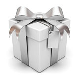 Gift box with silver ribbon Royalty Free Stock Photos