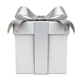 Gift box with silver ribbon bow Royalty Free Stock Image