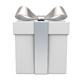 Gift box with silver ribbon bow isolated over white. Background. 3D rendering vector illustration