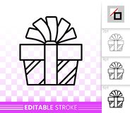 Gift Box simple black line present bow vector icon royalty free illustration