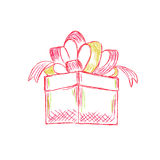 Gift box in sketch style, vector, illustration Royalty Free Stock Images