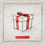 Gift Box Sketch. Vector hand drawn gift box sketch illustration. Elements are layered separately. Easy editable Stock Images