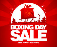 Gift box on a sled, Boxing day. Stock Image