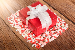 Gift box with small hearts Royalty Free Stock Image
