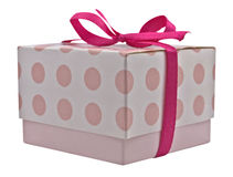 Gift box. Small gift box with pink ribbon bow, isolated on white. Clipping path included stock images