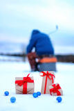 Gift box on the snow bow landscape Stock Photo