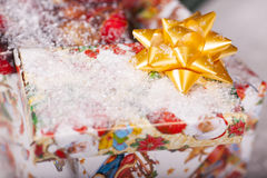 Gift box in snow Royalty Free Stock Image