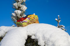 Gift box on snow. Stock Photo