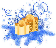 Gift box with snowflakes and pine branches Stock Images