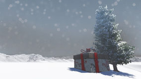 Gift box in snowy Royalty Free Stock Photo