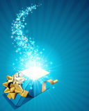 Gift box with sparkling stars Stock Photography