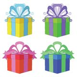 Gift box square, set Royalty Free Stock Photo