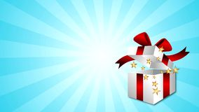 Gift Box Stars. Footage of stars coming out of a gift box vector illustration