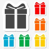 Gift box sticker set Stock Photos