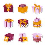 Gift box stickers set Stock Images