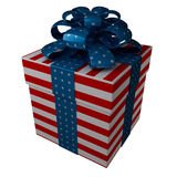 Gift box in style of a flag USA. Ribbon and bow. isolated on white (3d render Stock Images