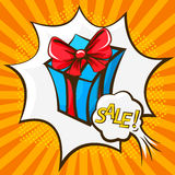 Gift box in the style of pop art Royalty Free Stock Photo
