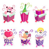 Gift box with surprise stock illustration