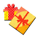Gift box with surprise and patterns on a white background.Merry. Gift box with surprise and patterns on a white background Stock Photos